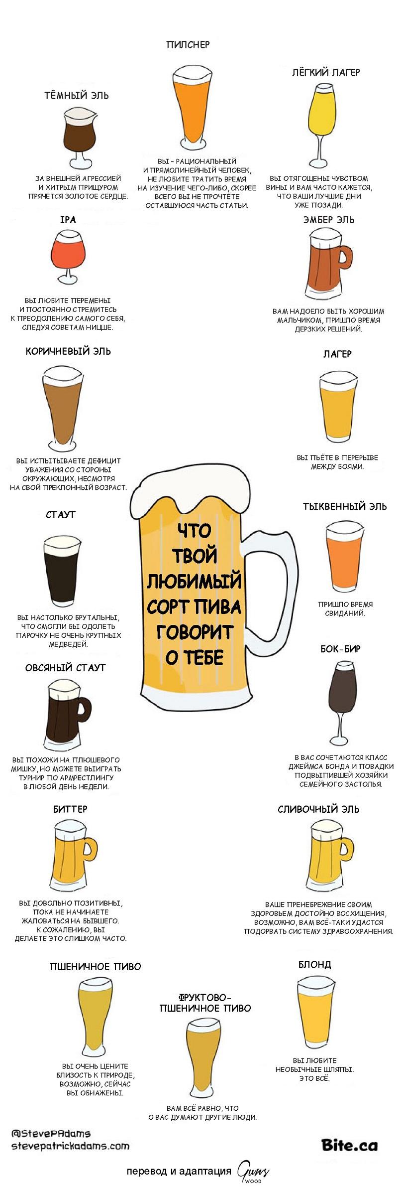 пиво, крафтовое пиво, сорта пива, психология, психологический тест, пивные предпочтения, инфографика пиво